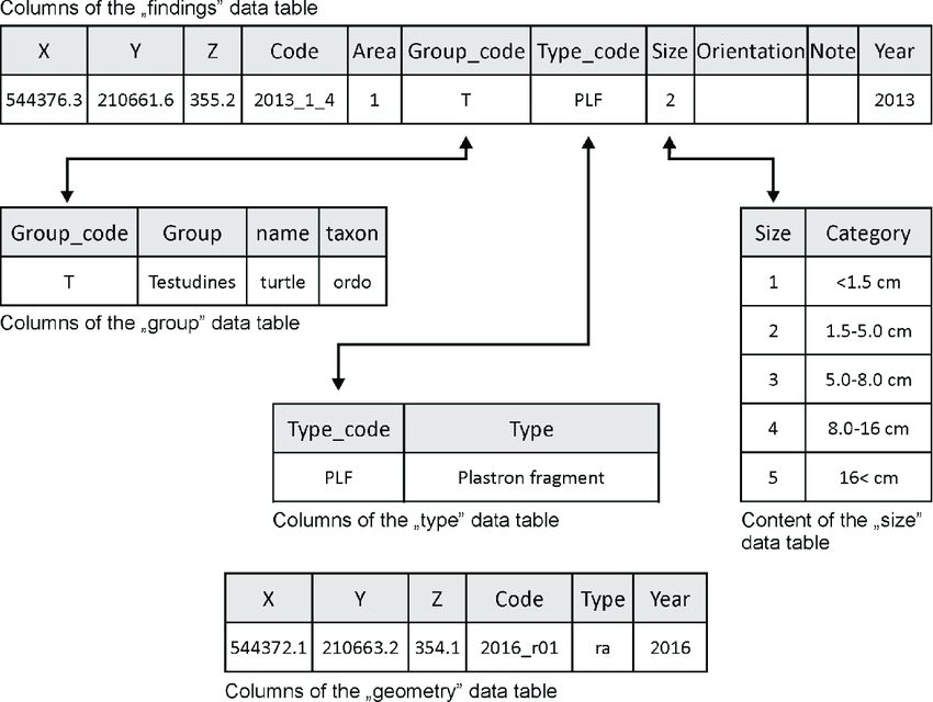 Data Tables Worksheets Of The Relational Database