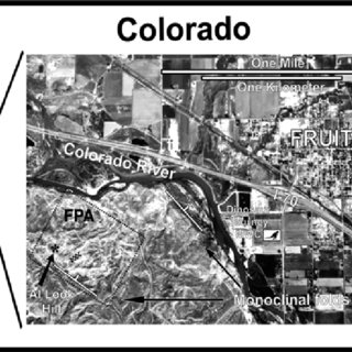 Location map of Colorado with inset aerial photo of the Fruita     Location map of Colorado with inset aerial photo of the Fruita  Colorado  area with Fruita