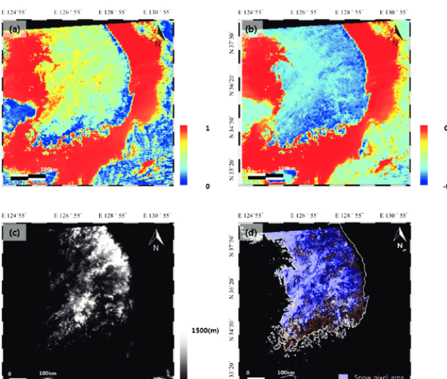 Defining Snow Cover Area Using Satellite Imagery A Ndsi Image Of The Study Area B Ndwi Image Of The Study Area C Srtm Dem Of The Study Area And D