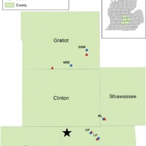 Map of Michigan showing the location of the six study sites and     Map of Michigan showing the location of the six study sites and treatment  plots  The