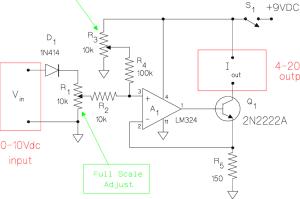 Schematic diagram for the voltagetocurrent converter
