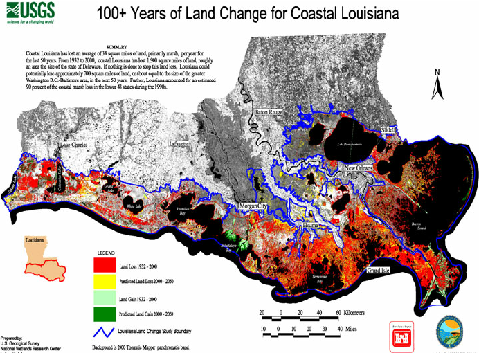 Historical and projected land loss from coastal Louisiana  Map     Historical and projected land loss from coastal Louisiana  Map reproduced  from Barras et al