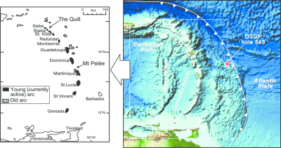 Map of the Lesser Antilles island arc. Bathymetric map ...
