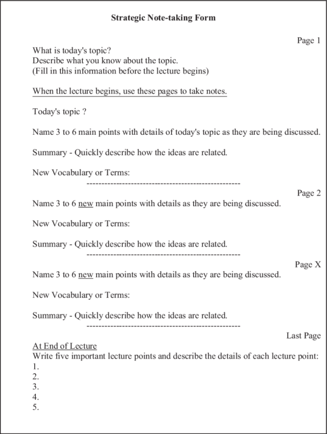 Abbreviated version of strategic note-taking paper.  Download