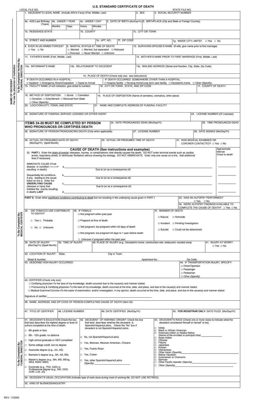 U S Standard Certificate Of Death Download Scientific