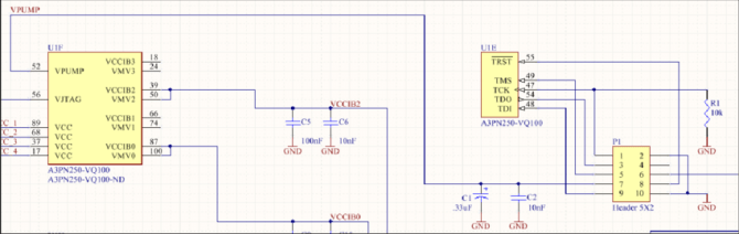 schematic wiring diagram of jtag interface header to