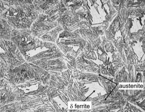 Weld microstructure without the heat treatment δ ferrite