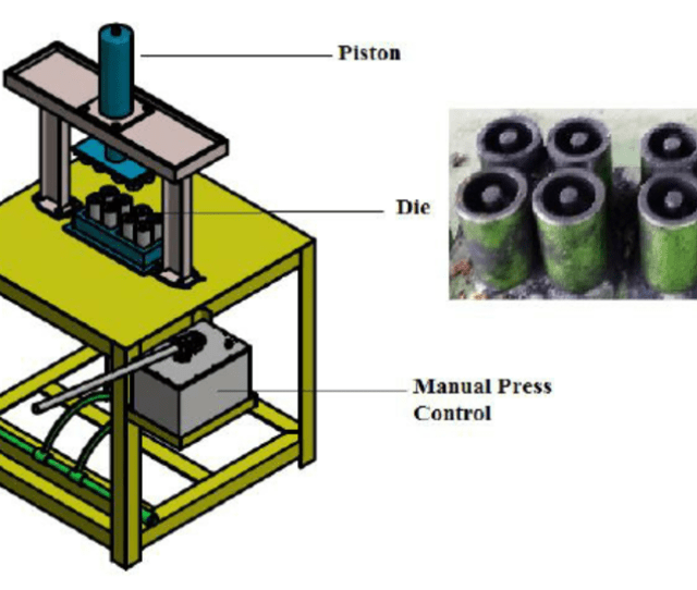 Isometric View Of The Manual Briquetting Hydraulic Press Machine