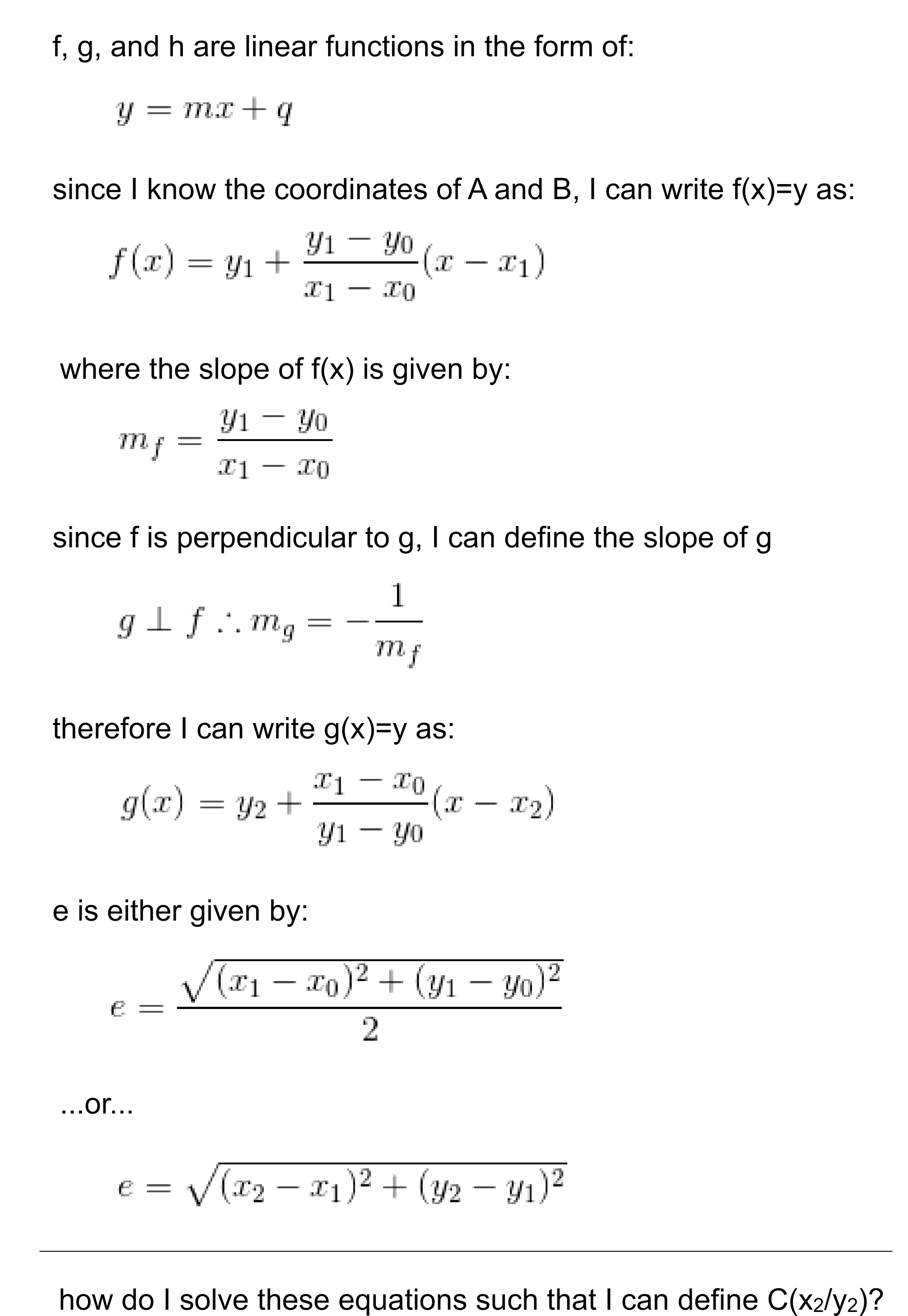 How Do I Find These Coordinates Of C Simple Equation