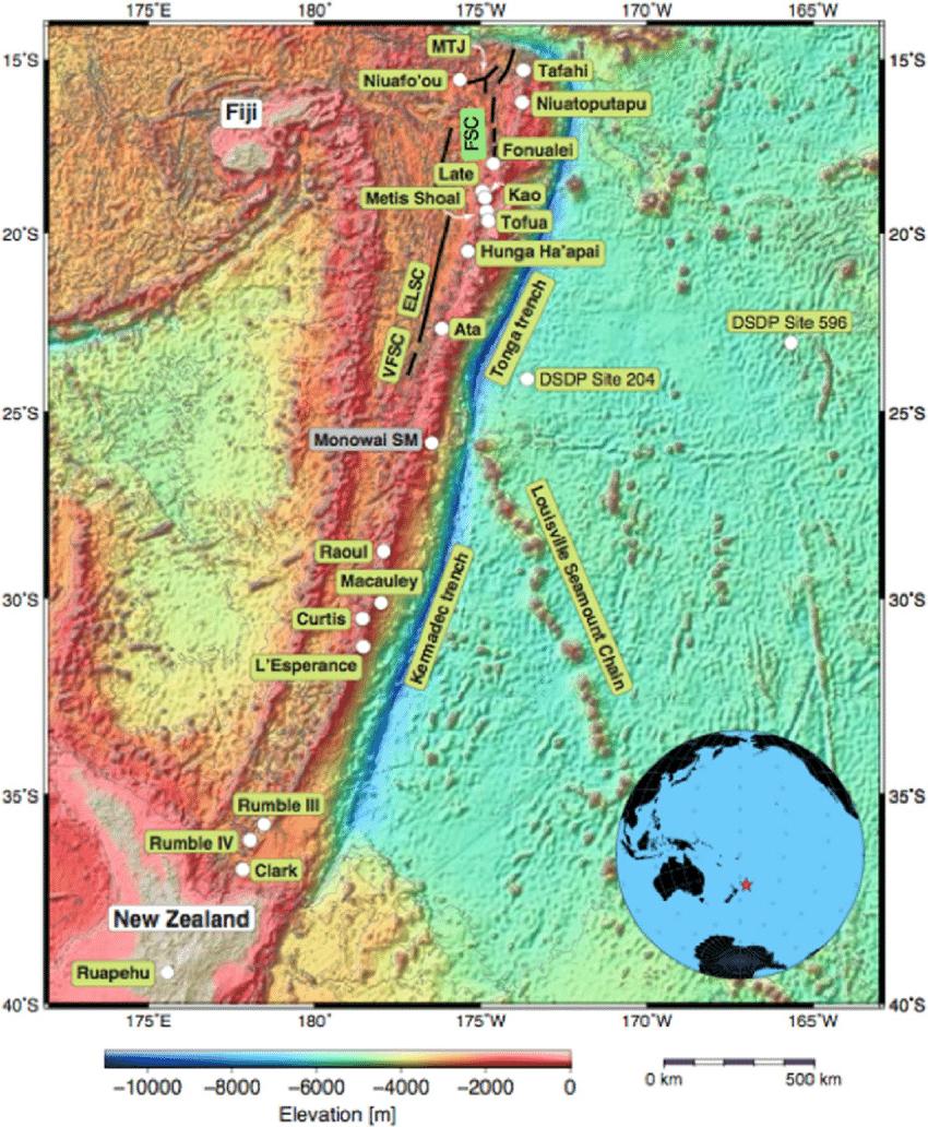 Regional Setting For The Tonga Kermadec New Zealand Arc Showing Key Download Scientific Diagram