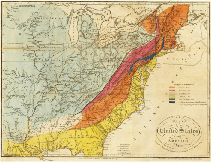 Maclure s  1818  geologic map of the United States  In addition to     Maclure s  1818  geologic map of the United States  In addition to the  standard
