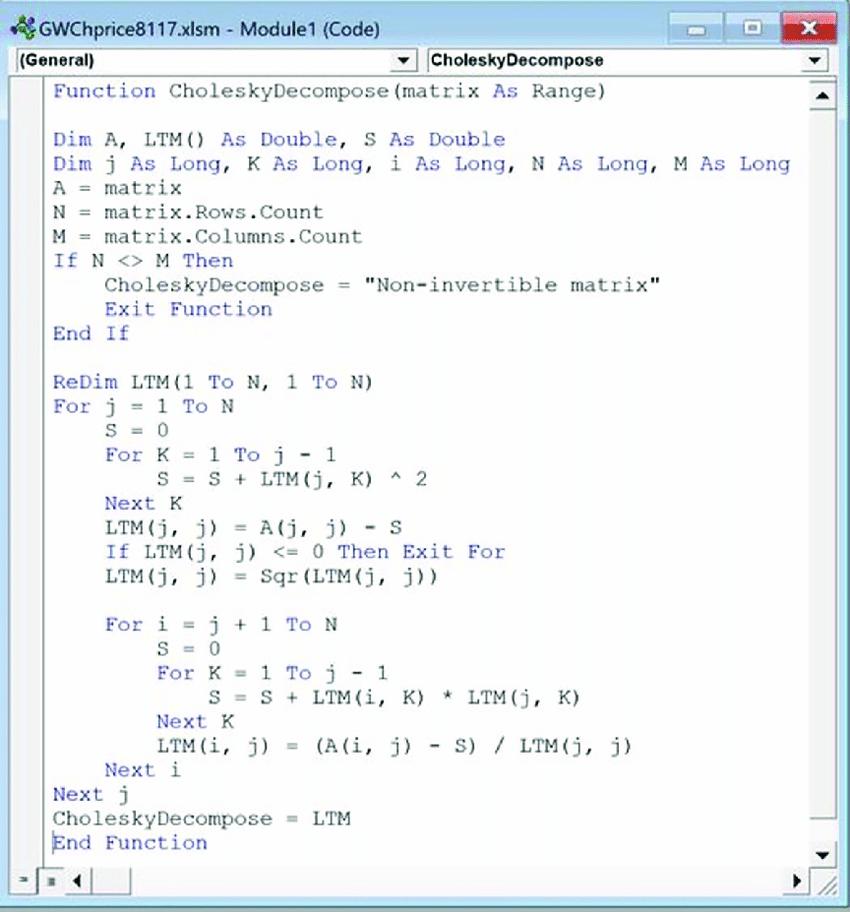Cholesky Decomposition In Excel Vba Download Scientific Diagram