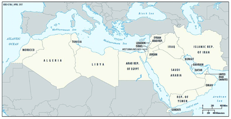 Map of the Middle East and North Africa (MENA) region; source: [12].
