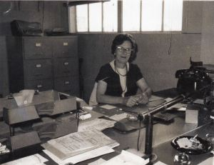My grandma at work in her office in Chula Vista
