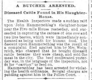 San Francisco Chronicle 31 Jul 1890 arrest of butcher