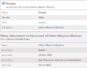 California Death Index Record McShea