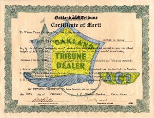 1943 Oakland Tribune Newspaper certificate