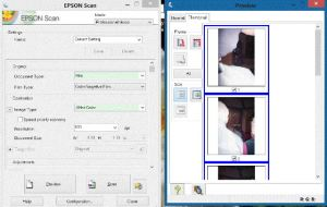 Epson V550 Scanner software screen