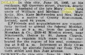 patrick dolan obituary san francisco 1905