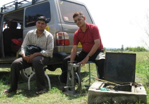 Researchers collecting geothermal data through boreholes