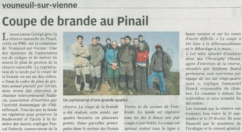 Coupe de brande au Pinail, Nouvelle République