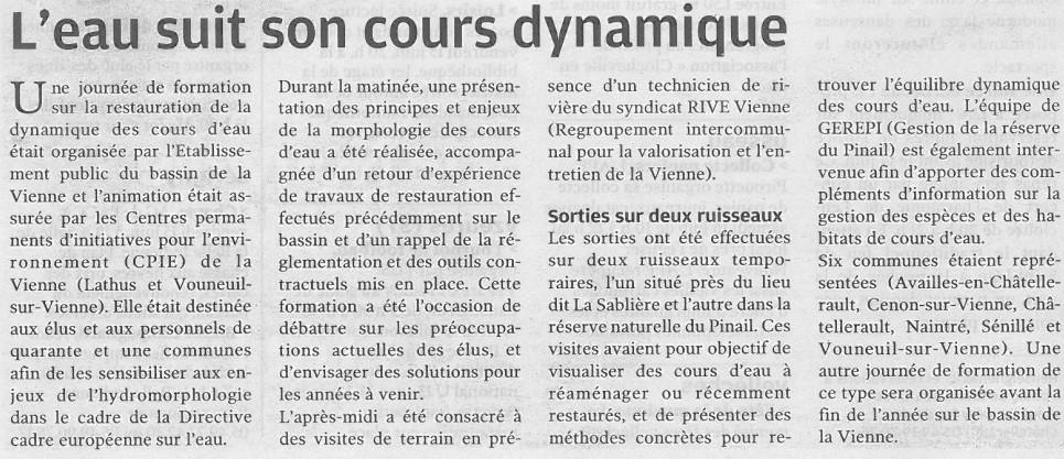 Formation hydrologie, Nouvelle République