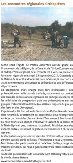 Rencontres régionales orthoptères, Vienne Nature Automne 2014