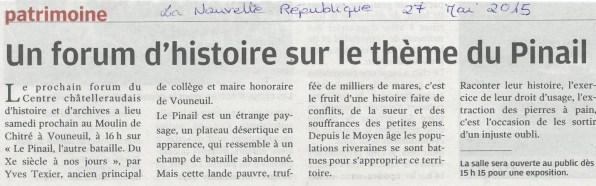 Un forum d'histoire sur le thème du Pinail, Nouvelle République