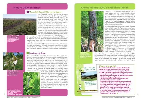 Forêt de Moulière, Lettre d'information Natura 2000, 2013