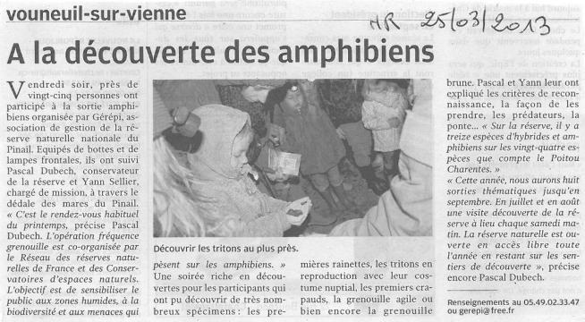 Sortie nature amphibiens 2013, Nouvelle République