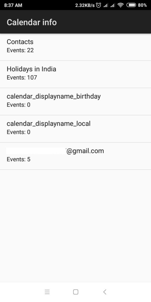 Calendar Android Code