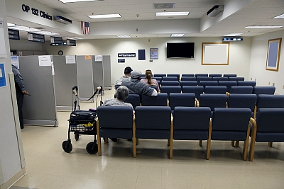 Uncrowded waiting room in a community hospital.