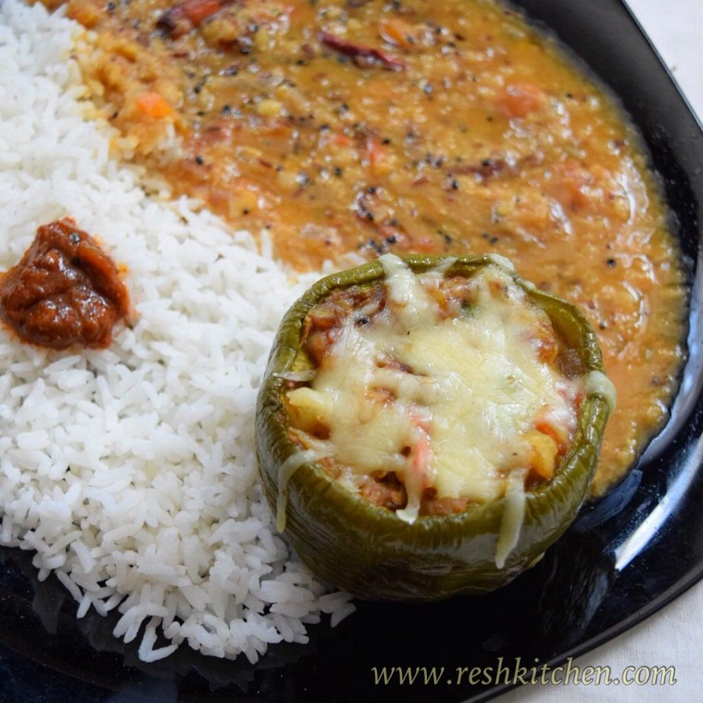 Masoor Dal Tadka & Stuffed Capsicum Recipe | ReshKitchen