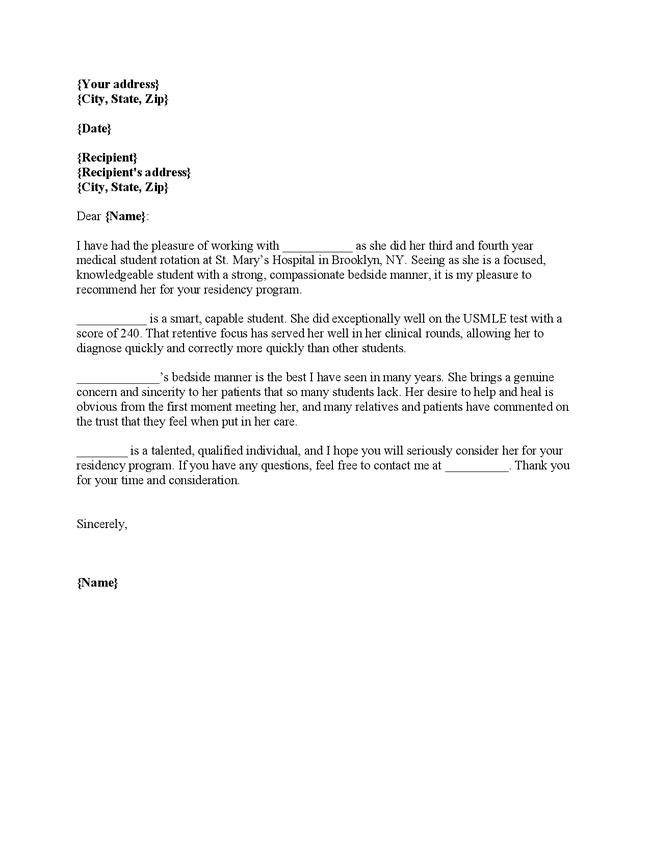 Cover Letter For Residency Application By Recommendation Letter Sample For  Medical Residency Cover   Residency Cover