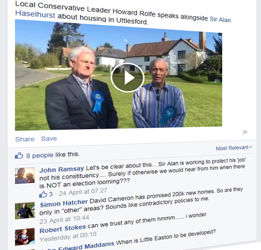 UDC Leader Cllr Rolfe accused of misleading over houses to win votes
