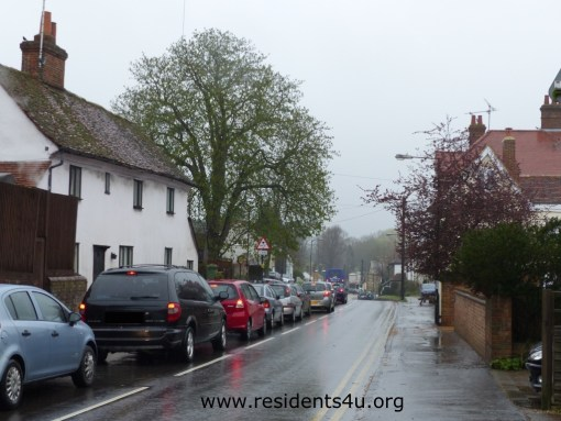 Traffic backed up throughout the village -no signs to warn commuters until it was too late.