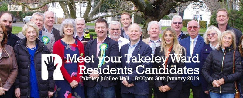 Event: Meet Your Takeley Ward Residents Candidates & Team @ Takeley Jubilee Hall | 8:00pm 30th January 2019
