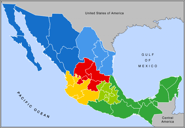 Mexico regional map http://commons.wikimedia.org/wiki/File:Mexico_regional_map.png