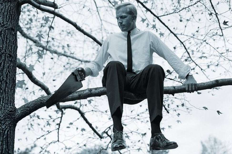 Image result for image of sawing off a branch you're sitting on