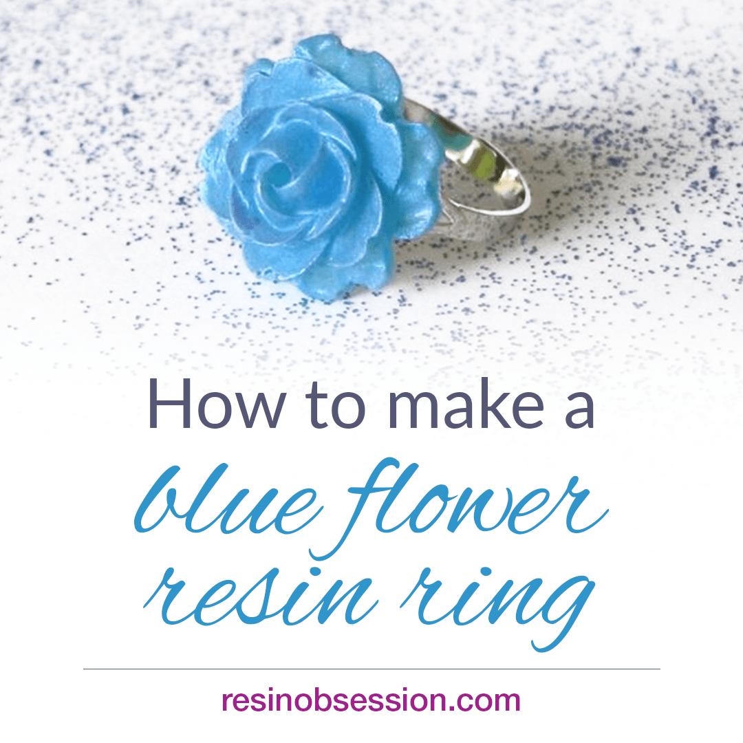 blue flower resin ring DIY