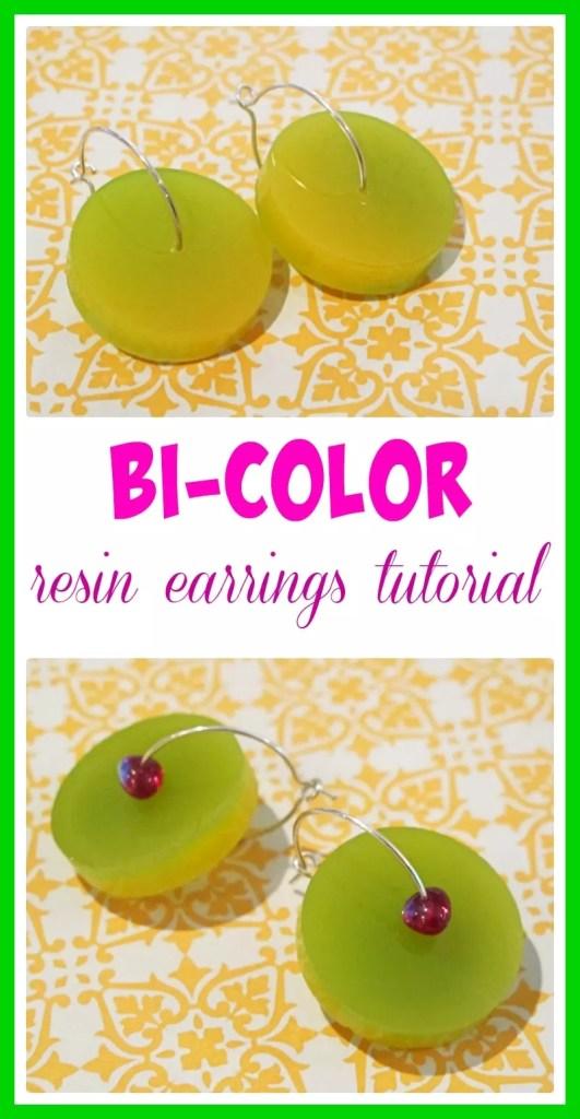 bi color resin earrings tutorial