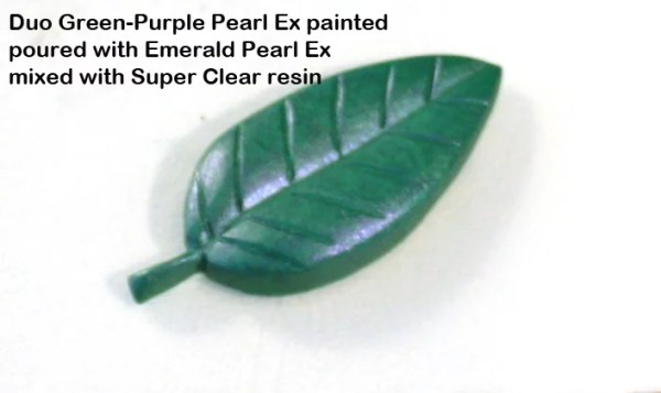 resin leaf colored with green powder