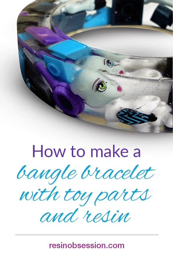 resin bangle bracelet with toy parts