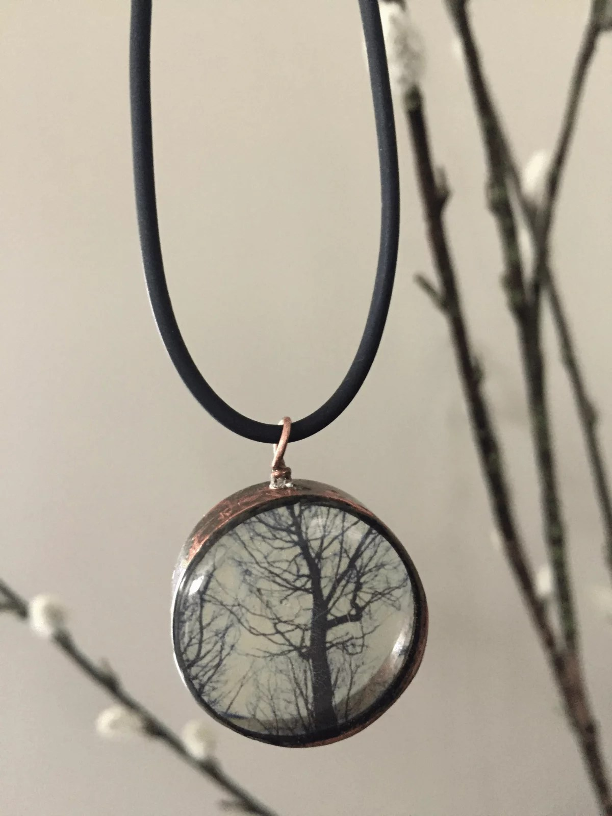 pendant with resin and transparencies