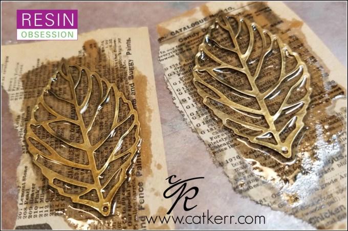 adding resin to metal leaves