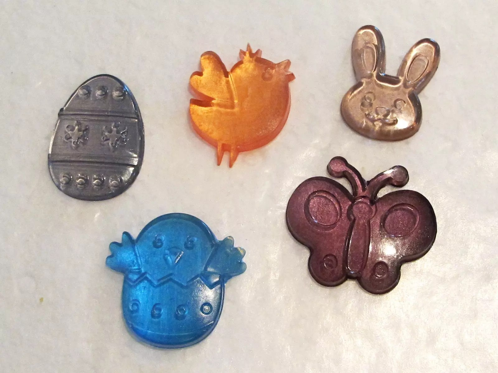 resin charms with a jewel metallic finish