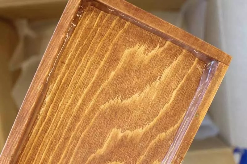 wood tray sealed with glue
