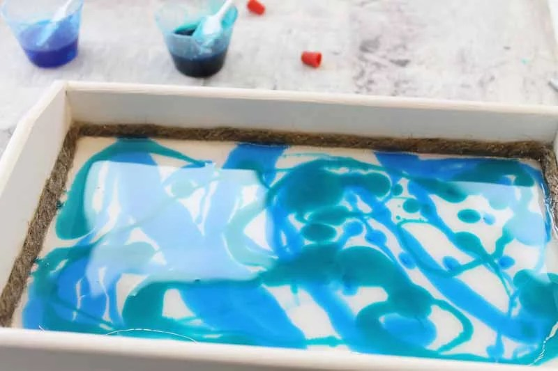 resin with blue and teal colors