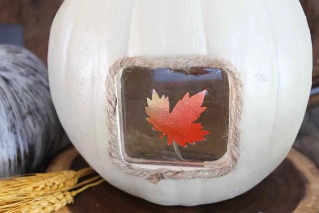 light up thanksgiving centerpiece closeup of resin leaf detail