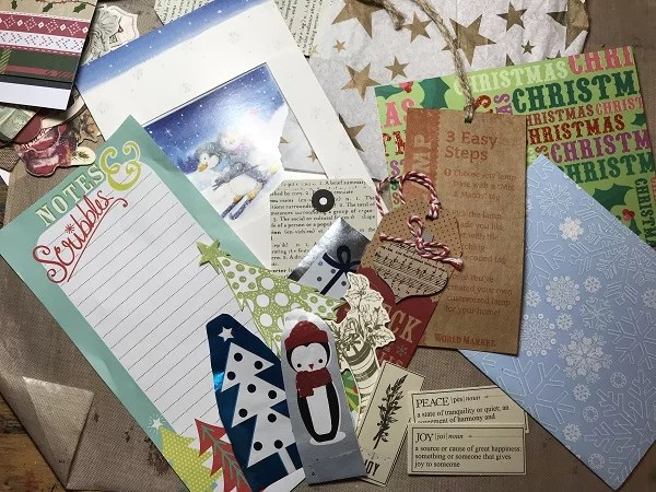 tag supplies - tissue, used Christmas cards, wrapping paper